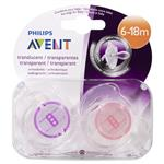 Avent Soother Translucent 6-18Months BPA Free 2 Pack