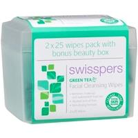 Swisspers Green Tea Wipes 2 Pack with Bonus Beauty Box