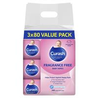 Curash Baby Wipes Fragrance Free 3 X 80 Bulk Pack