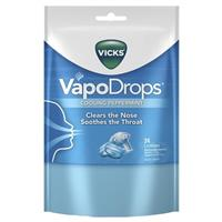 Vicks Vapodrops Blue Cooling Peppermint Lozenges 24