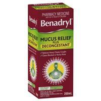 Benadryl Mucus Relief Plus Decongestant 200ml