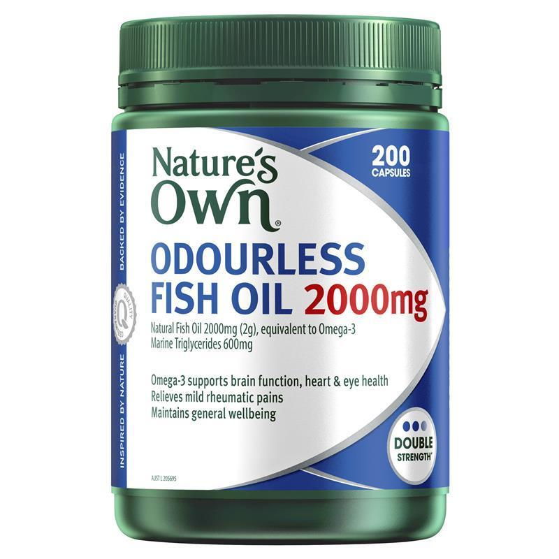 Buy nature 39 s own odourless fish oil 2000mg 200 capsules for Fish oil pills