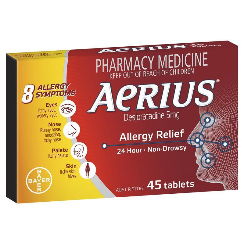 Aerius 5mg 45 Tablets Chemist Warehouse