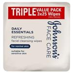 Johnson & Johnson Daily Essentials Facial Cleansin Wipes for Normal Skin 3 Pack