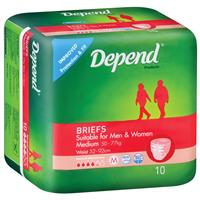 Depend Fitted Briefs Medium 10 Pack