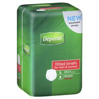Depend Fitted Briefs Large 8 Pack