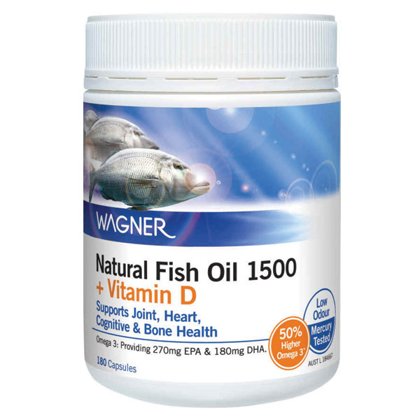 Wagner natural fish oil 1500mg plus vitamin d 180 capsules for Vitamin d fish