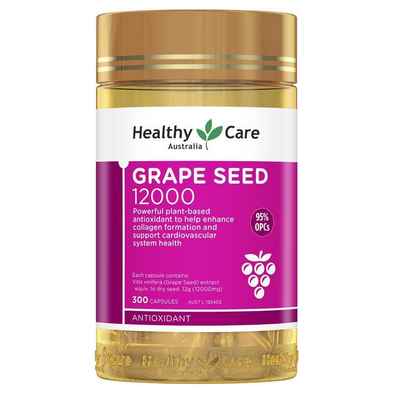 Healthy care grapeseed extract 12000 gold jar 300 capsules chemist