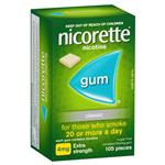 Nicorette Extra Strength (4mg) Classic 105 Chewing Gum