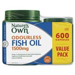 Nature's Own Odourless Fish Oil 1500mg 600 Capsules Exclusive Size