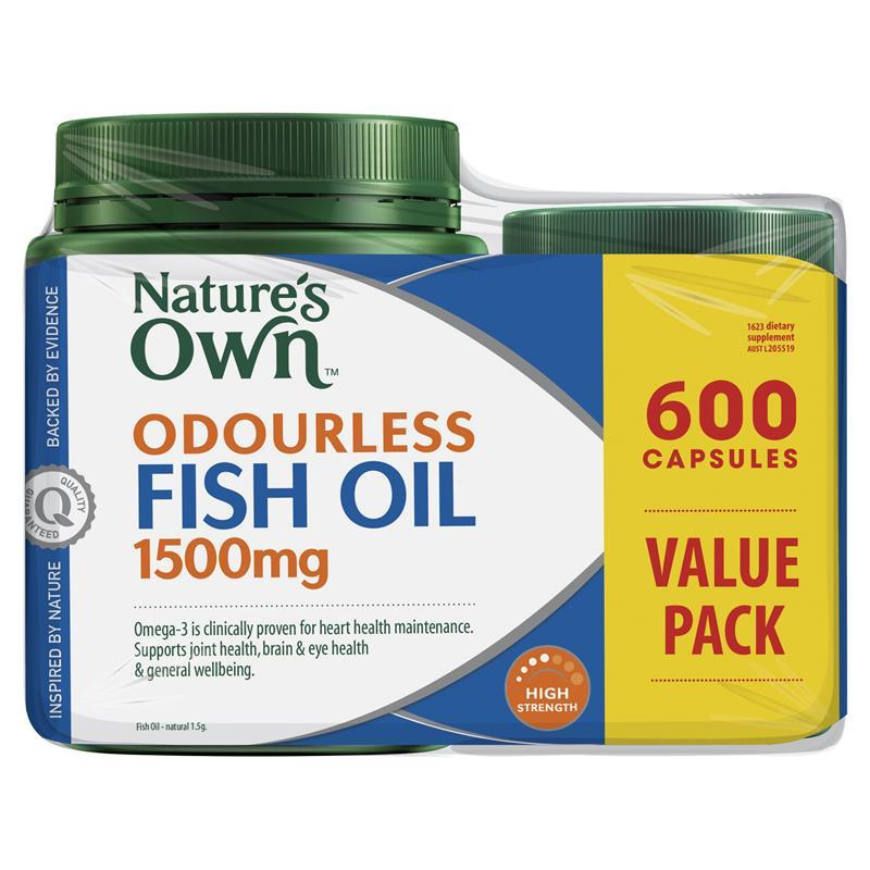 Nature 39 s own odourless fish oil 1500mg high strength 600 for What are fish oil pills for