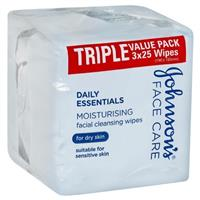 Johnson & Johnson 3 in 1 Facial Wipes Dry 3 x 25 Pack