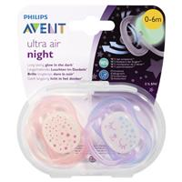 Avent Soother Night Time 0-6 Months BPA Free 2 Pack