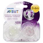 Avent Soother Translucent 0-6 Months BPA Free 2 Pack