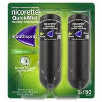 Nicorette Quit Smoking QuickMist Mouth Spray Freshmint Duo 150 Sprays (13.2mL x 2)