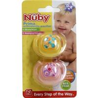 Nuby Prima Orthodontic Pacifier With Handle 0-6 Months 2 Pack