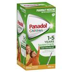 Panadol Children 1-5 Years Suspension Fever & Pain Relief Orange Flavour 200mL