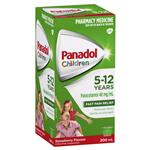 Panadol Children 5-12 Years Suspension Fever & Pain Relief Strawberry Flavour 200mL