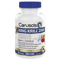 Carusos Natural Health King Krill 2000mg + Vitamin D3 30 Capsules
