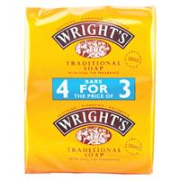 Wrights Soothing Cleansing Traditional Soap 4 for 3 Pack 4 x 125g