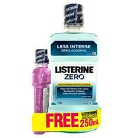 Listerine Mouthwash Zero 1 Litre + Zero 250ml Bonus Pack
