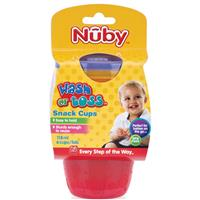 Nuby Wash Or Toss Snack Cups With Lid 6 Pack