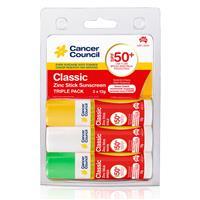Cancer Council SPF 50+ Classic Triple Pack Zinc Stick