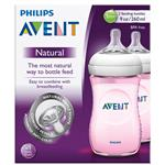 Avent Natural 260ml Feeding Bottle Pink 2 Pack