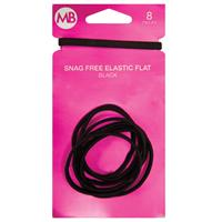 My Beauty Hair Snag Free Flat Elastic 8 Pack Black