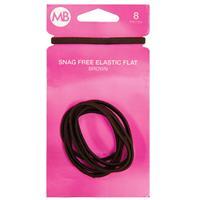 My Beauty Hair Snag Free Flat Elastic 8 Pack Brown