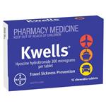 Kwells Travel Sickness 12 Chewable Tablets