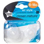 Tommee Tippee Closer To Nature Air Style Soothers 6-18 Months 2 Pack