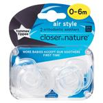 Tommee Tippee Closer To Nature Air Style Soothers 0-6 Months 2 Pack