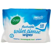 Pure Flushable Toilet Tissue 60 Wipes