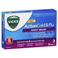Vicks Action Cold and Flu Night Relief 24 Pack