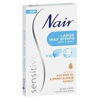 Nair Sensitive Wax Strips 20 Large