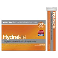 Hydralyte Electrolyte Effervescent Orange 60 Tablets Exclusive Size