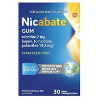 Nicabate Extra Fresh Mint Gum Quit Smoking 2mg 30 pieces