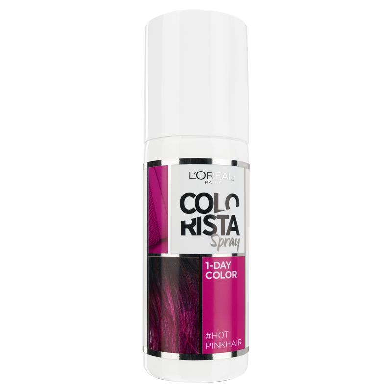 Details about L\'Oreal Paris Colorista Temporary Hair Colour Spray - Hot  Pink (Lasts 1 Shampoo)