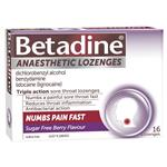 Betadine Sore Throat Anaesthetic Berry 16 Lozenges