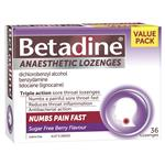Betadine Sore Throat Anaesthetic Berry 36 Lozenges