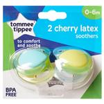 Tommee Tippee Closer To Nature Cherry Soothers 0-6 Months 2 Pack