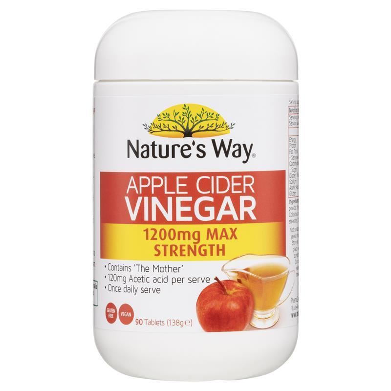 vinegar cider apple tablets nature way mother 1200mg strength max natures 1200 capsules help loss weight