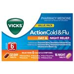 Vicks Action Cold and Flu Day and Night Relief 48 Tablets