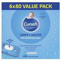 Curash Babycare Simply Water Wipes 6 x 80